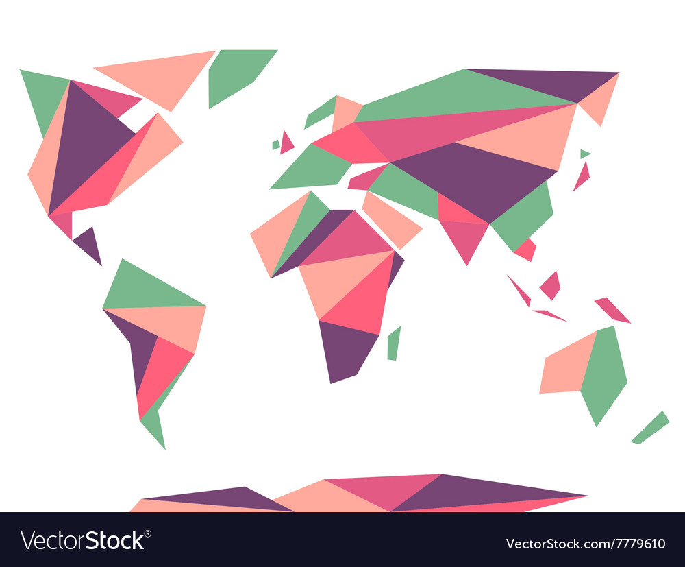 Low polygonal origami style world map abstract vector image gumiabroncs Gallery