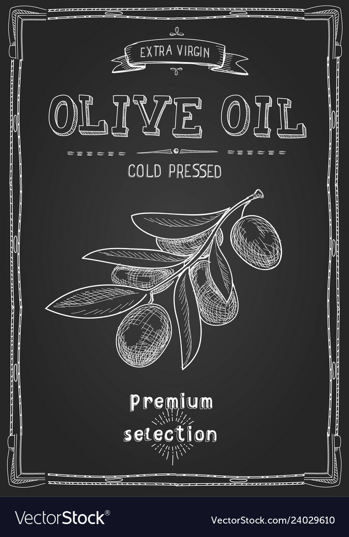 Olive oil hand drawn label advertising design