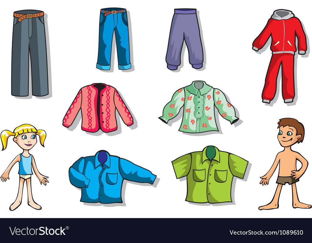 Set Of Children Clothes Vector Image