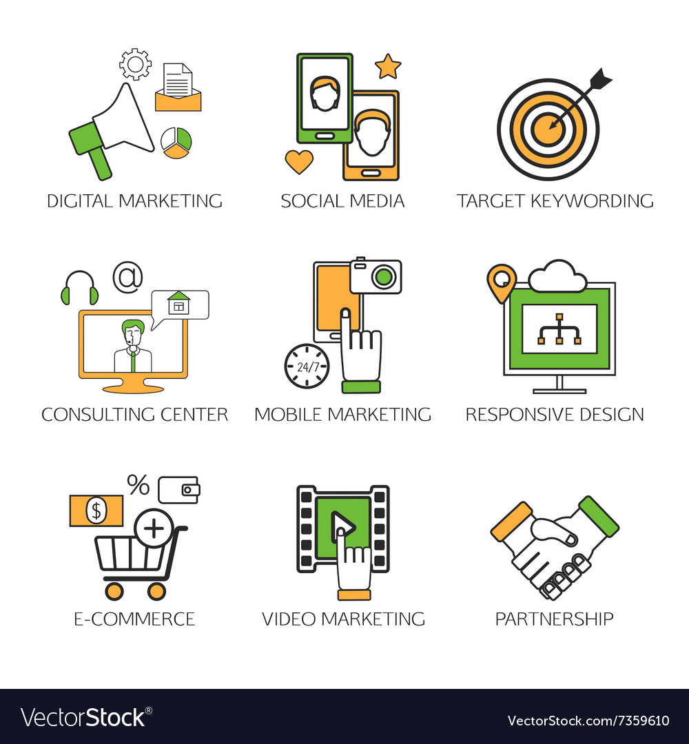 Social network outline icons set of communication