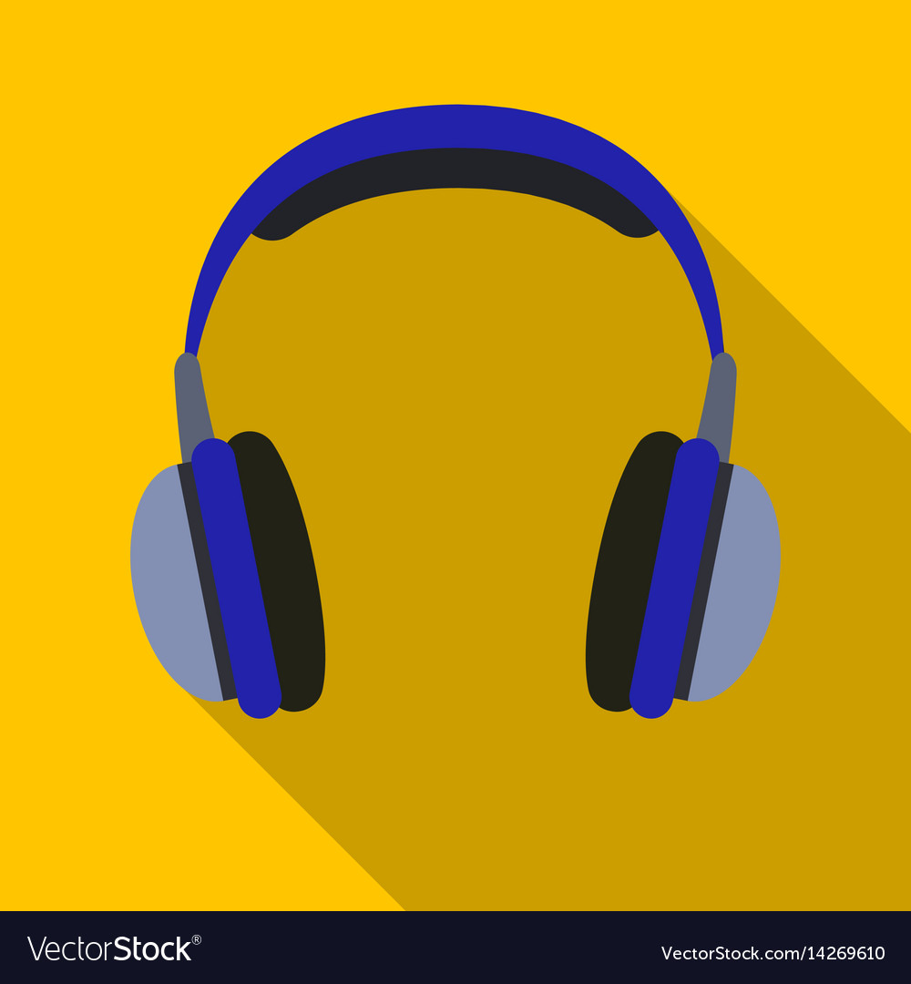 Vintage headphones icon in flat style isolated on vector image
