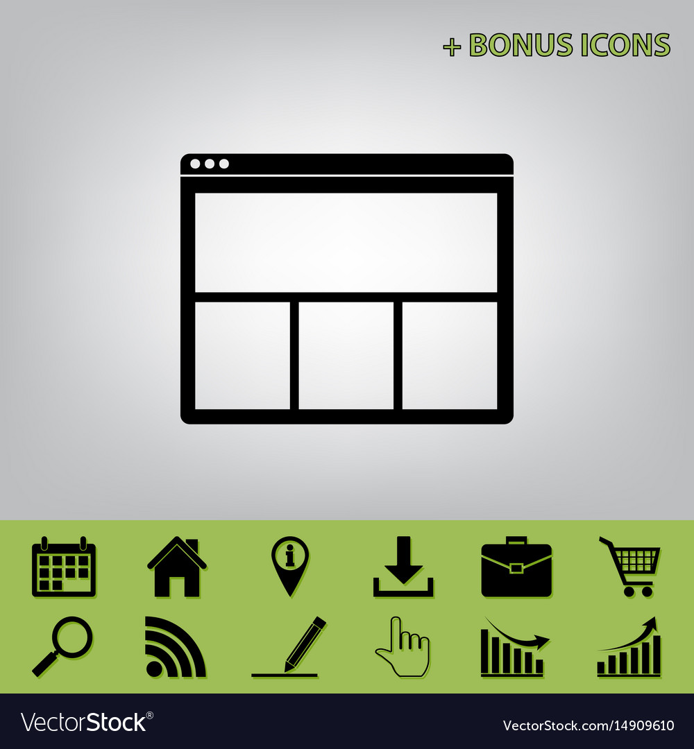 Web window sign black icon at gray