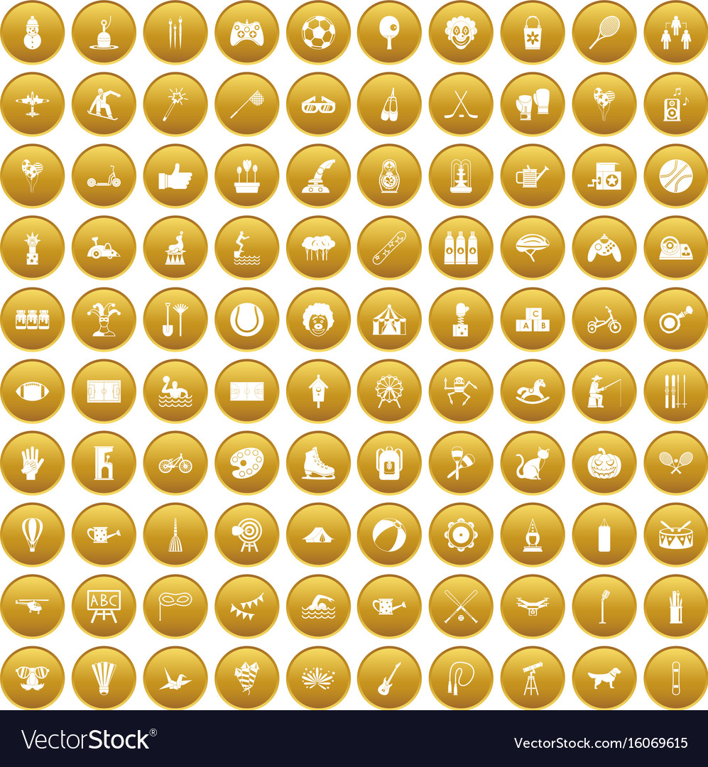 100 kids activity icons set gold vector image