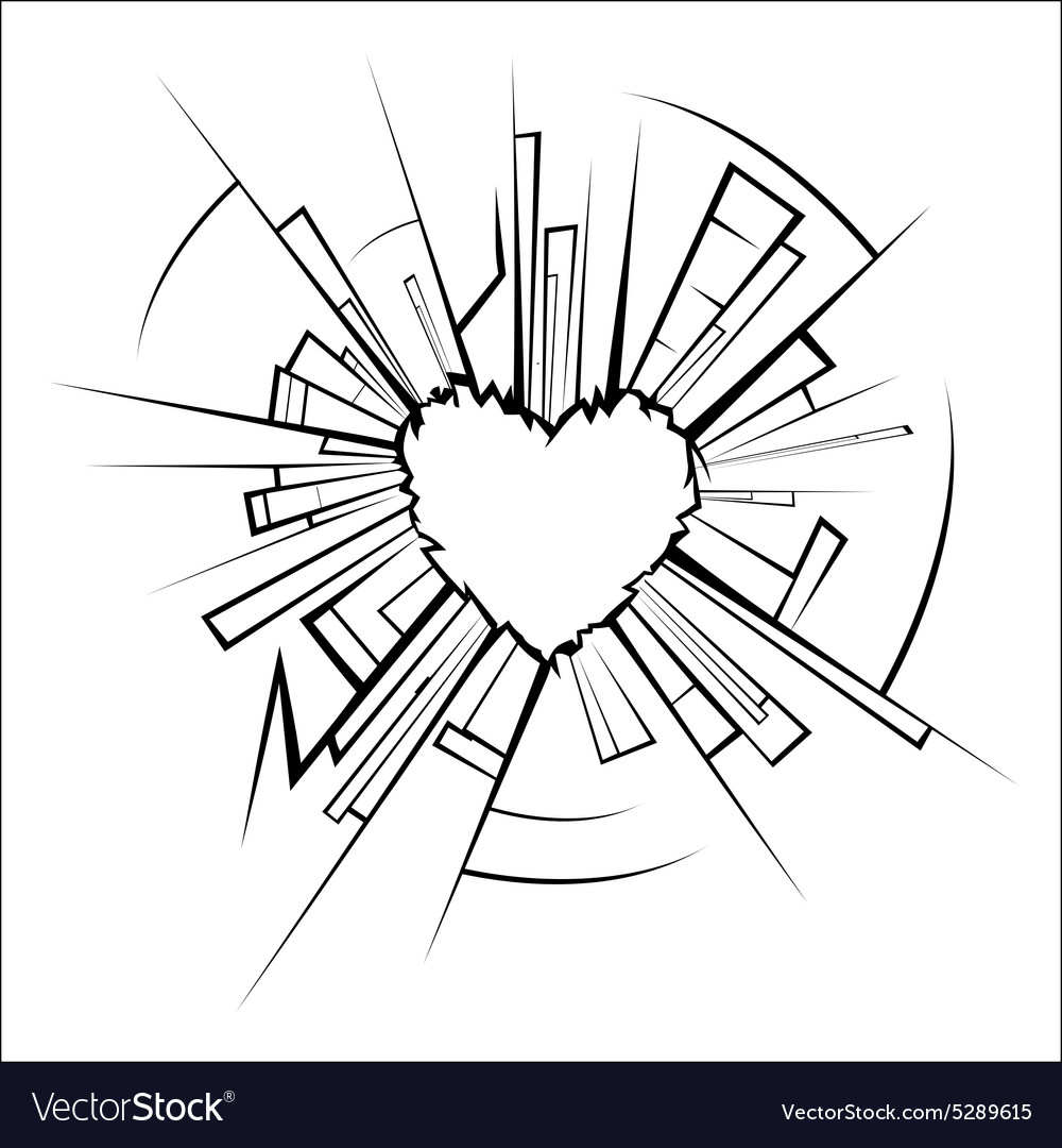 Broken glass and heart