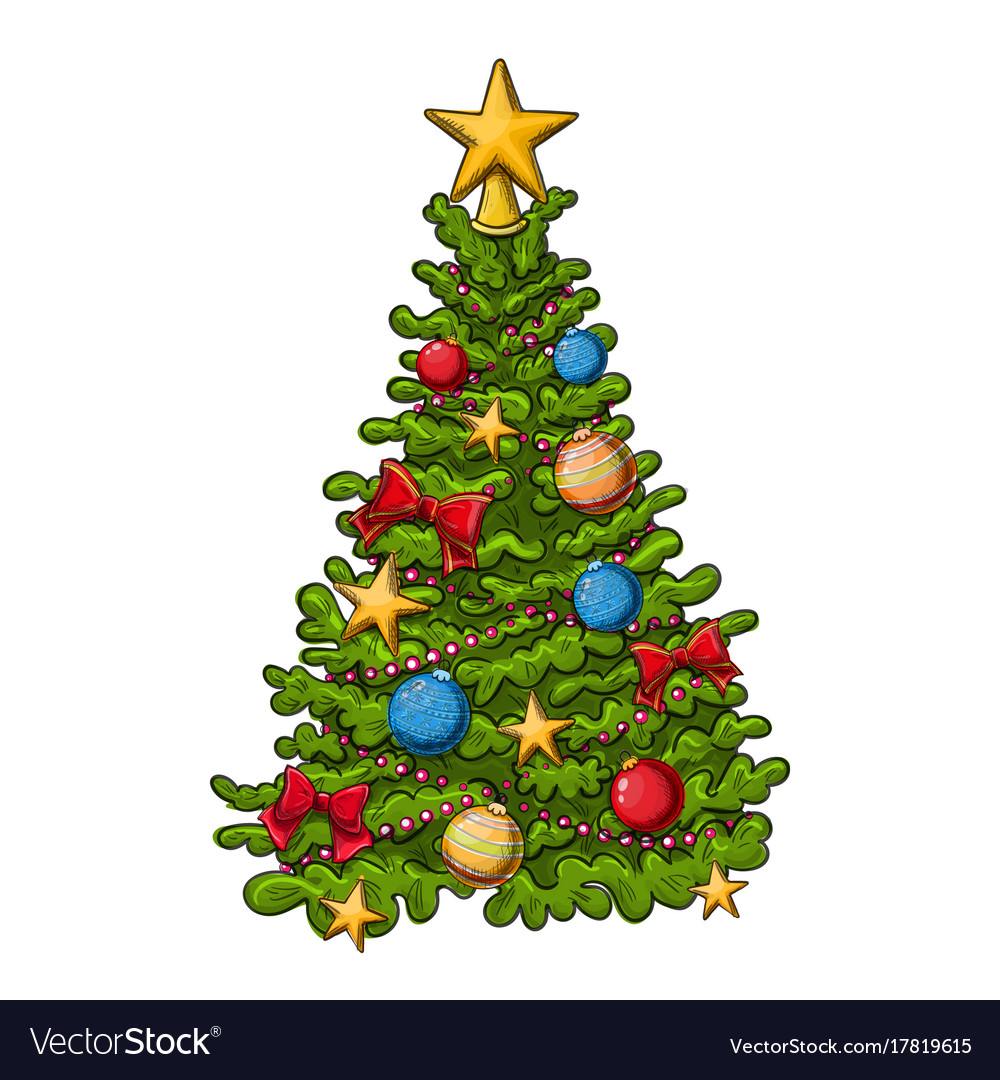 Christmas Tree Drawing Royalty Free Vector Image