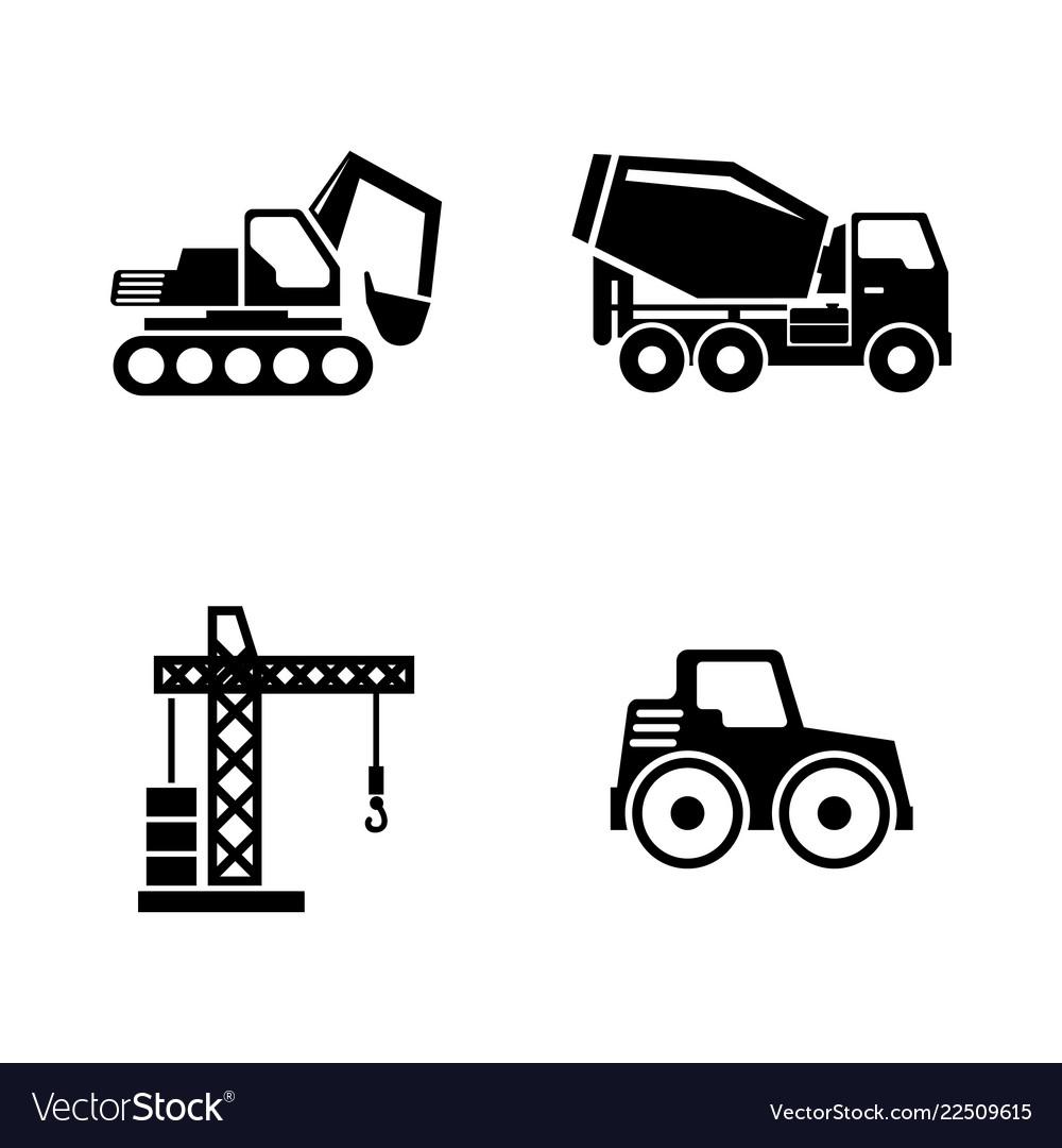 Construction vehicles building machines simple
