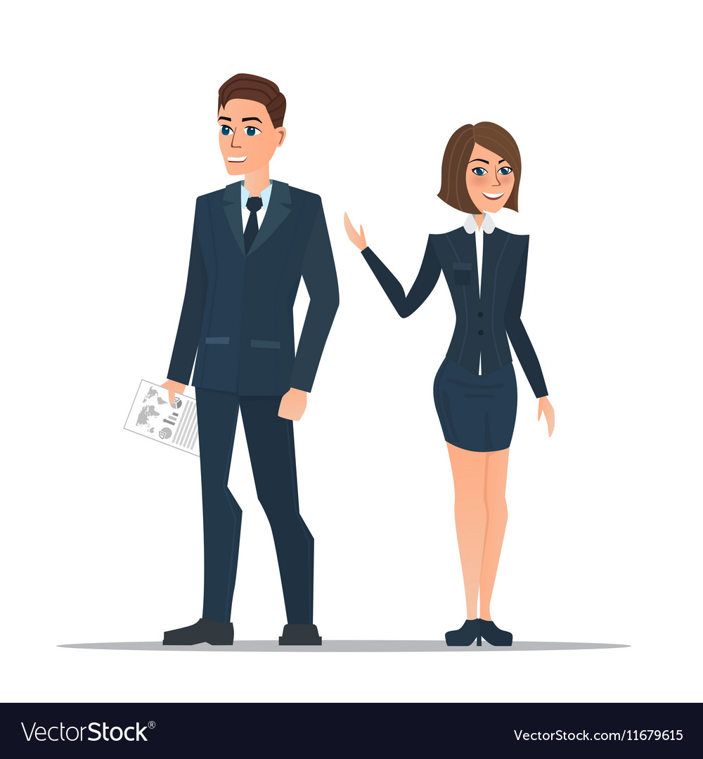 Couple business people in business suits is vector image