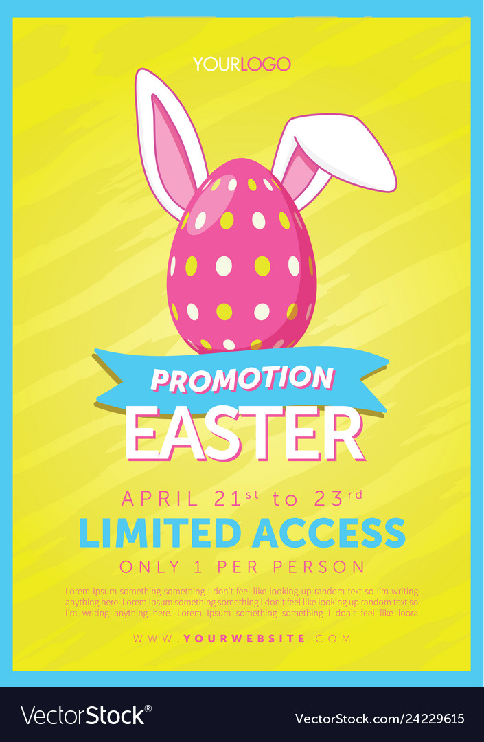 Easter egg with bunny ears flyer