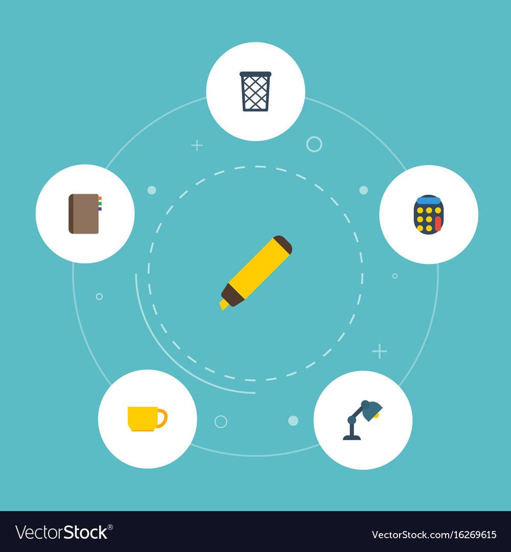Flat icons trash basket tea highlighter and vector image