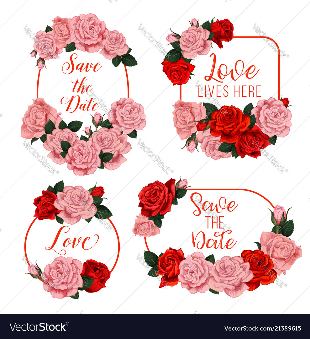 Flowers frames for wedding invitation card Vector Image