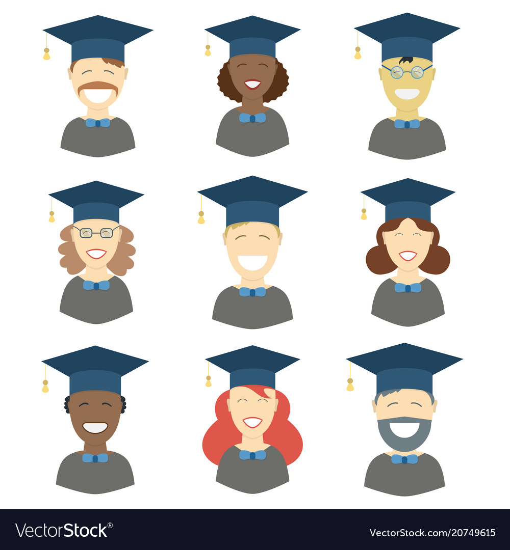 Graduation man and woman avatars