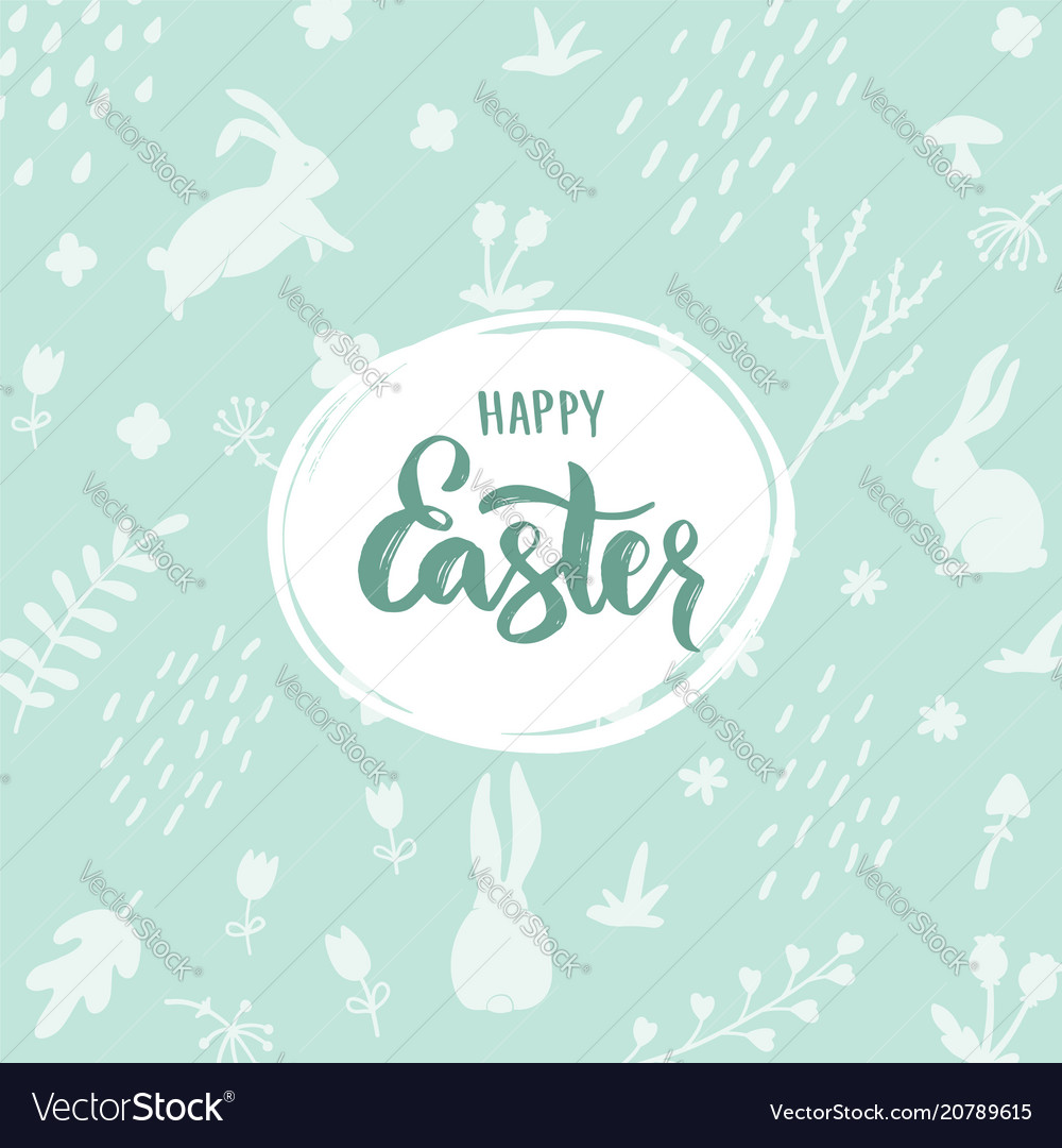 Happy easter lettering on light green background