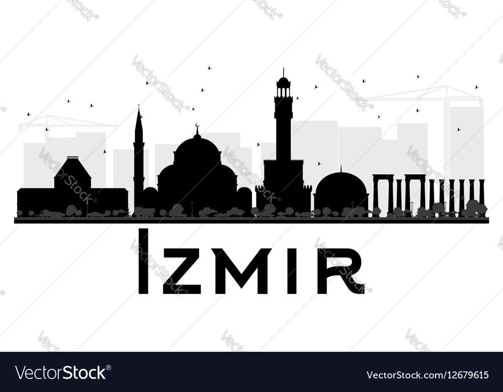 Izmir City Skyline Black And White Silhouette Vector Image