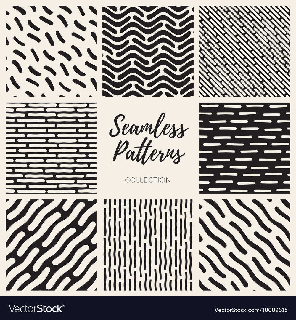 Seamless Black and White Hand Drawn Lines