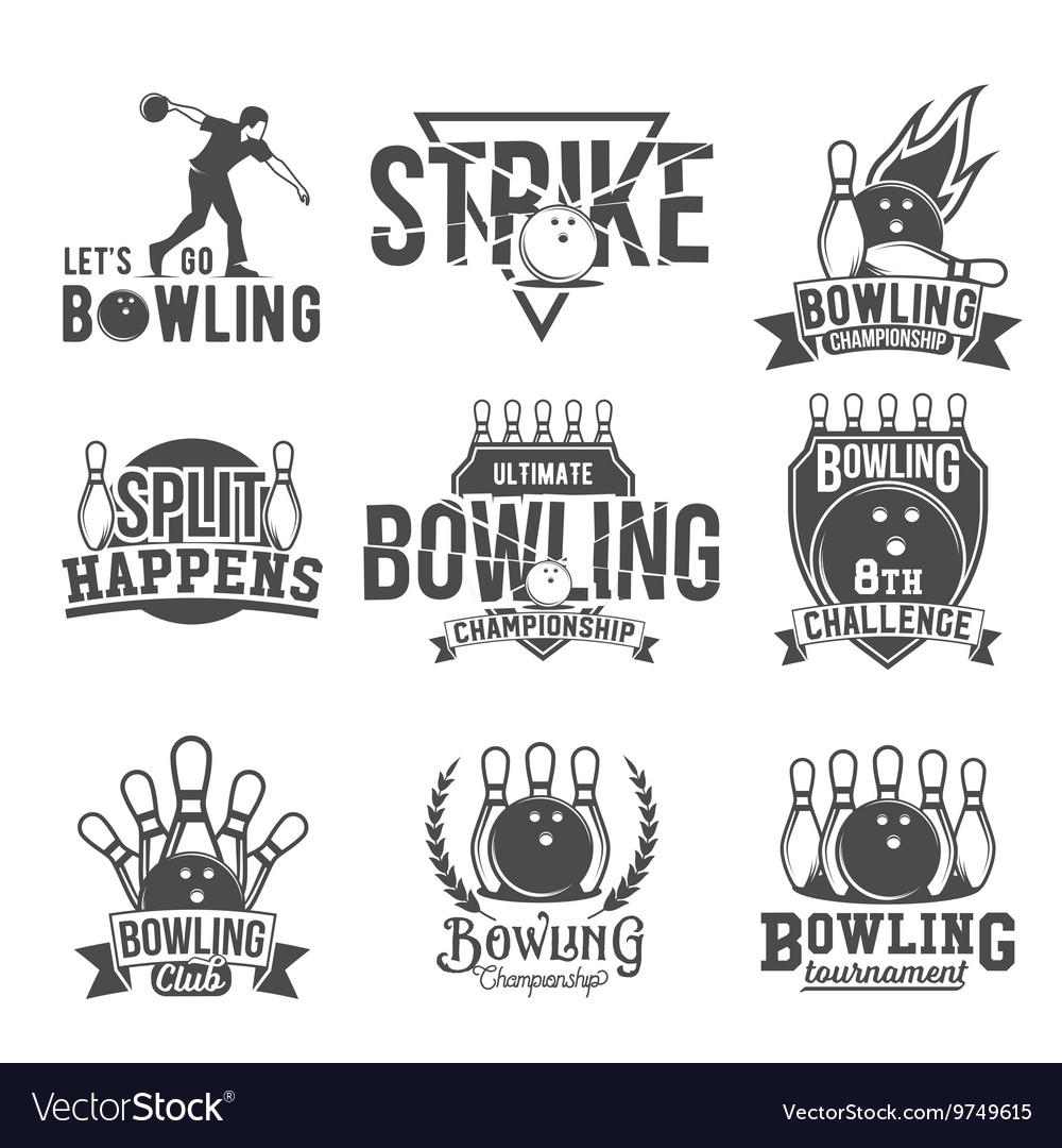 Set of bowling emblems labels badges and vector image