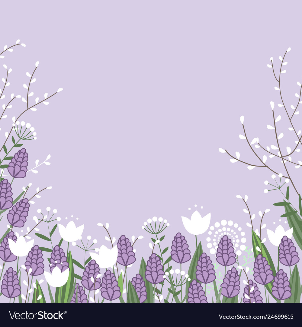 Spring flowers colorful card willow branches