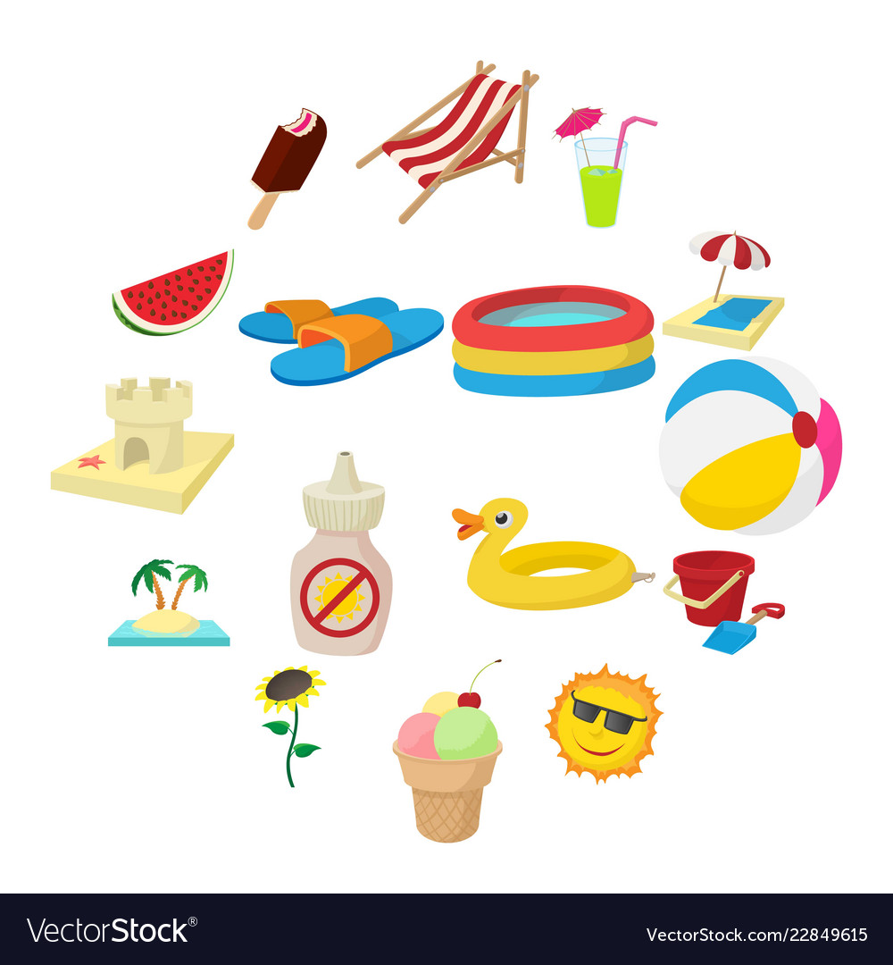 Summer icons set cartoon style vector