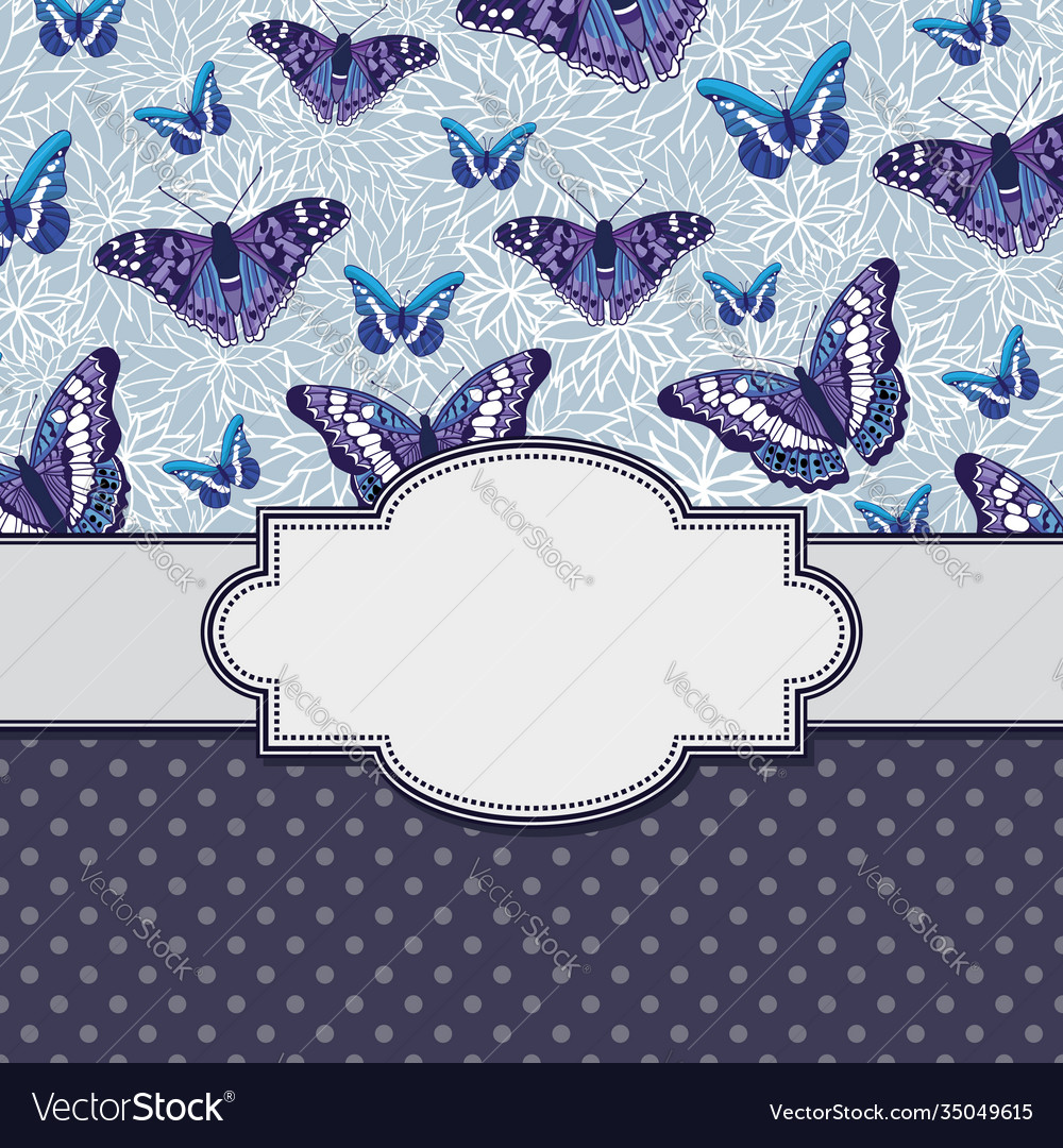 Vintage frame with butterflies and text place