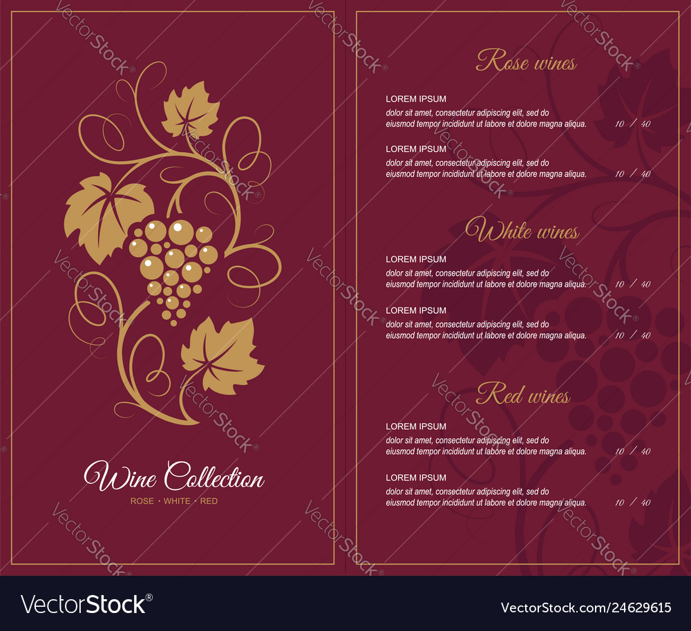Wine list design template