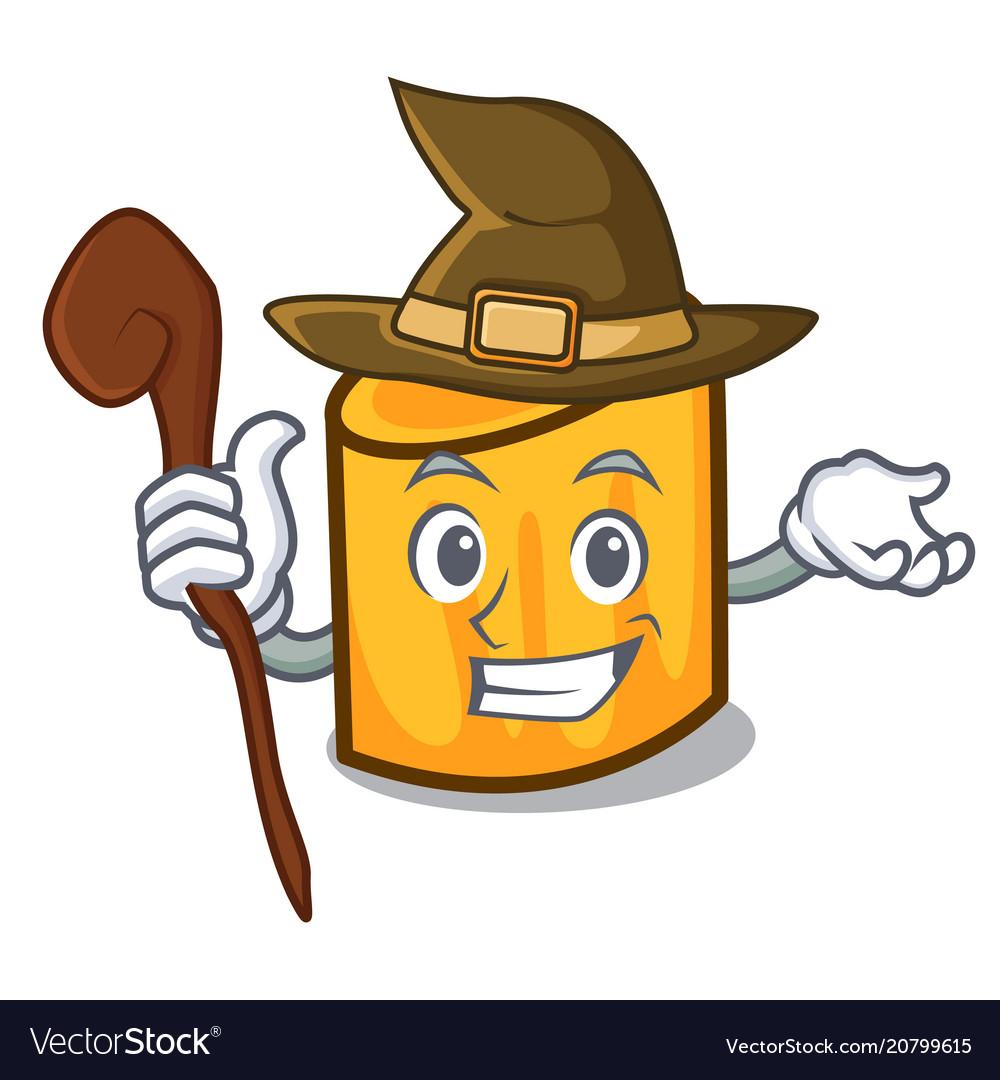 Witch rigatoni mascot cartoon style