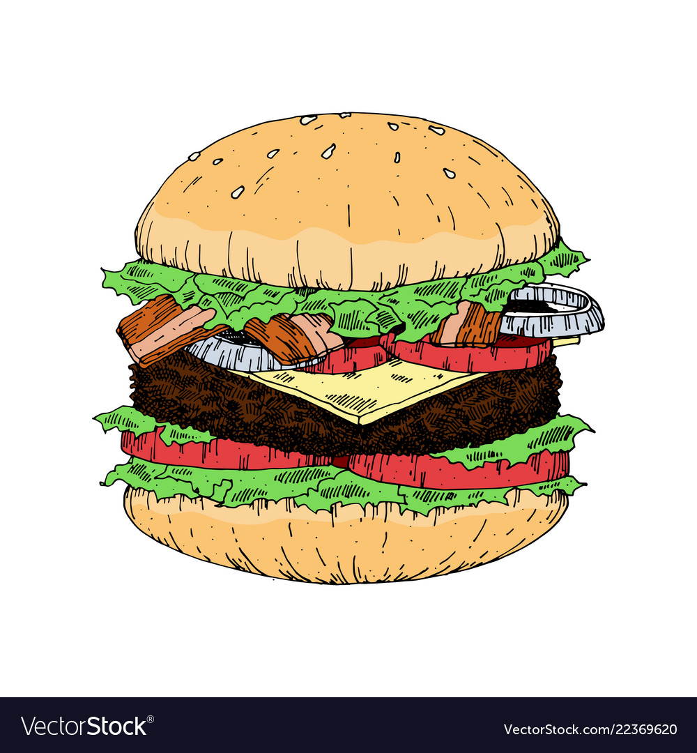 A piece of yummy hamburger vintage look hand draw
