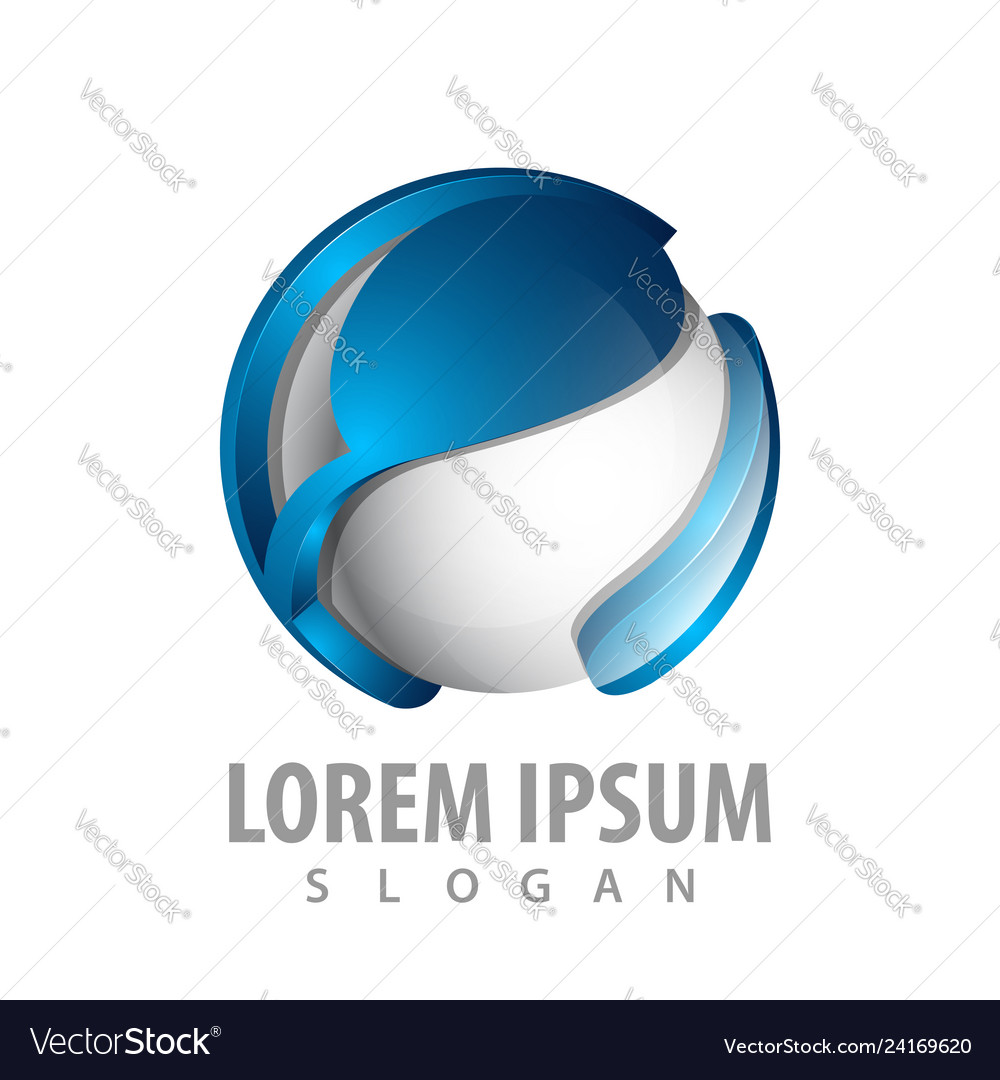 Abstract technology sphere logo concept design 3d