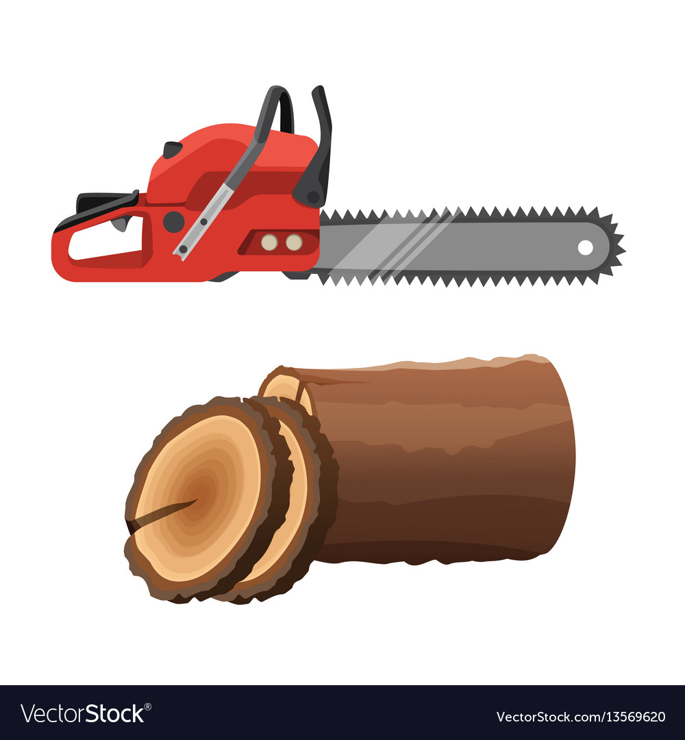 Axeman saw and stump isolated on white background