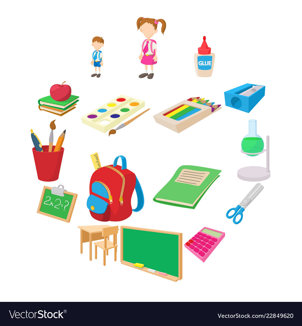 Back to school icons set cartoon style