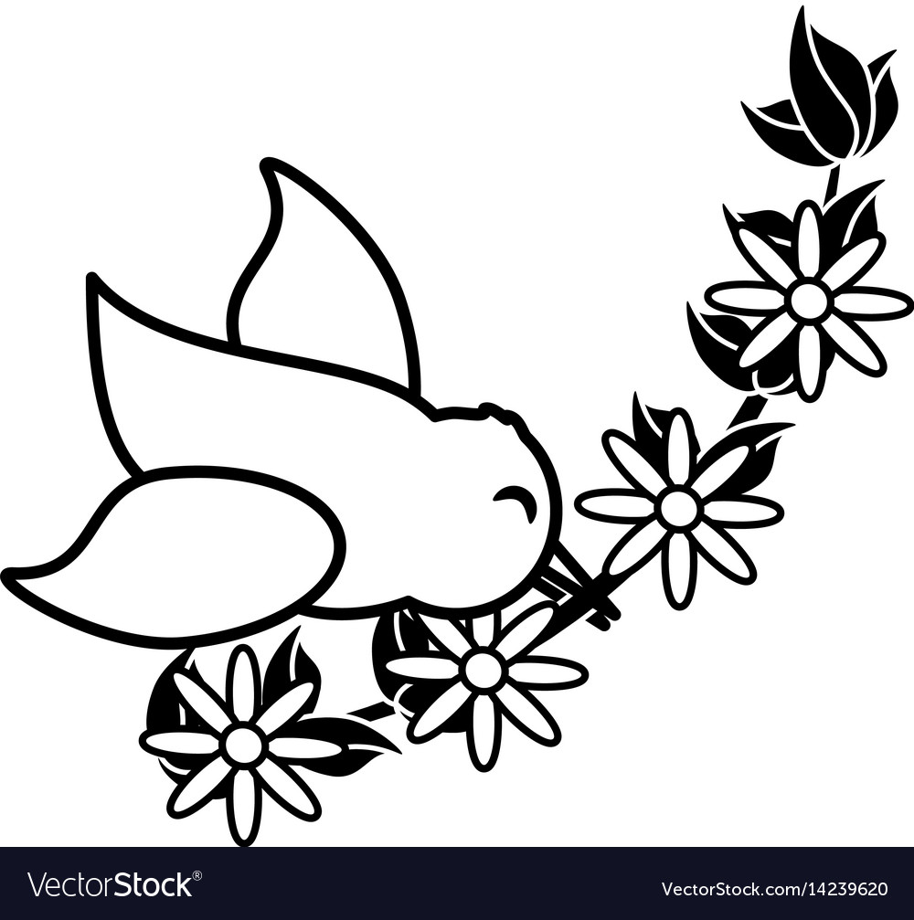 Bird flower branch romance image outline vector image