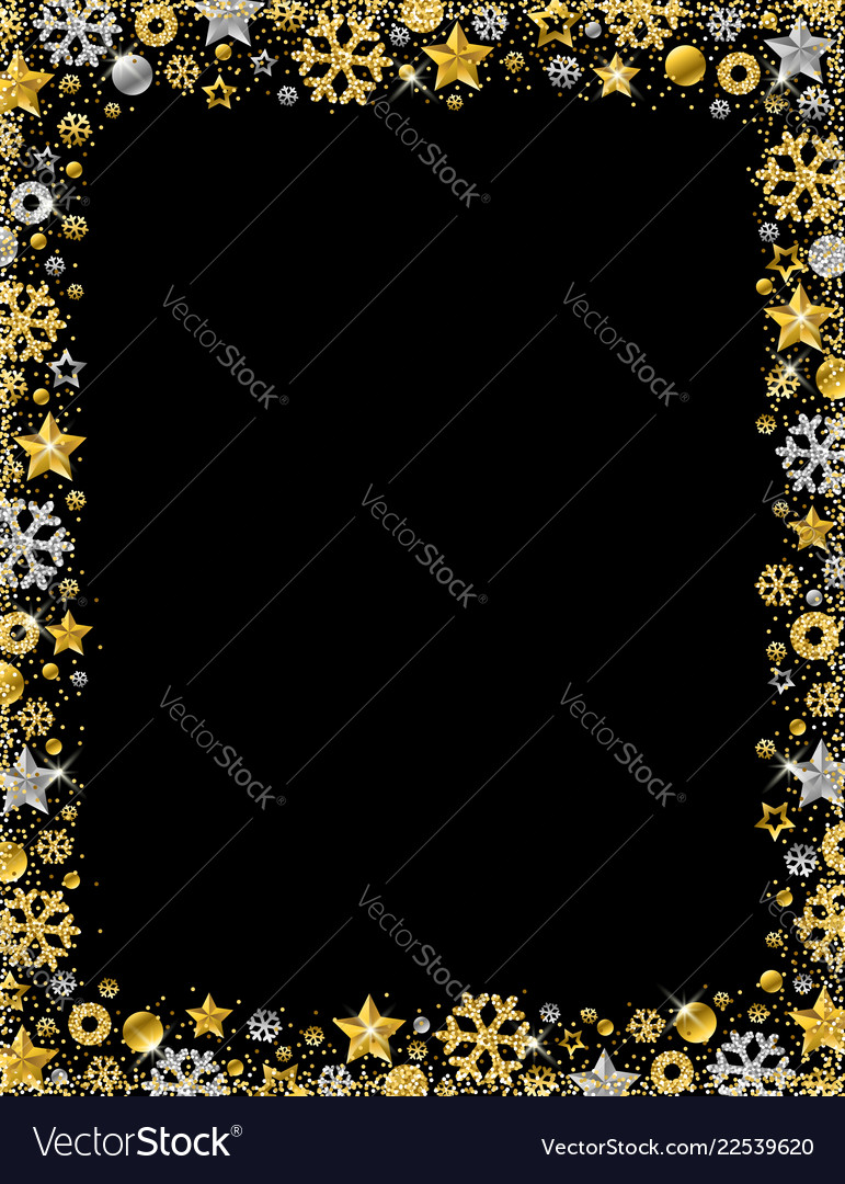 black christmas card with border of golden and vector image