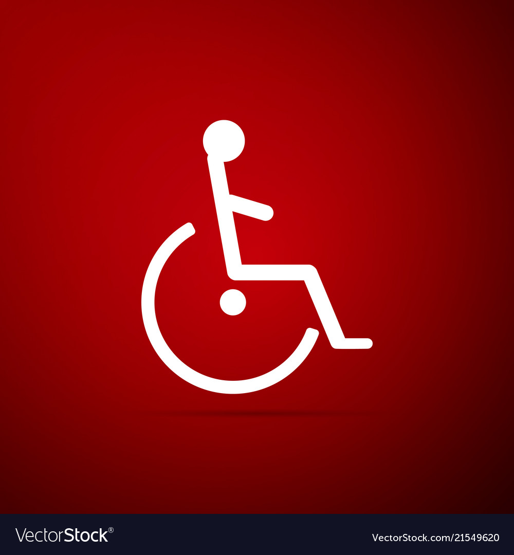 Disabled handicap icon isolated on red background