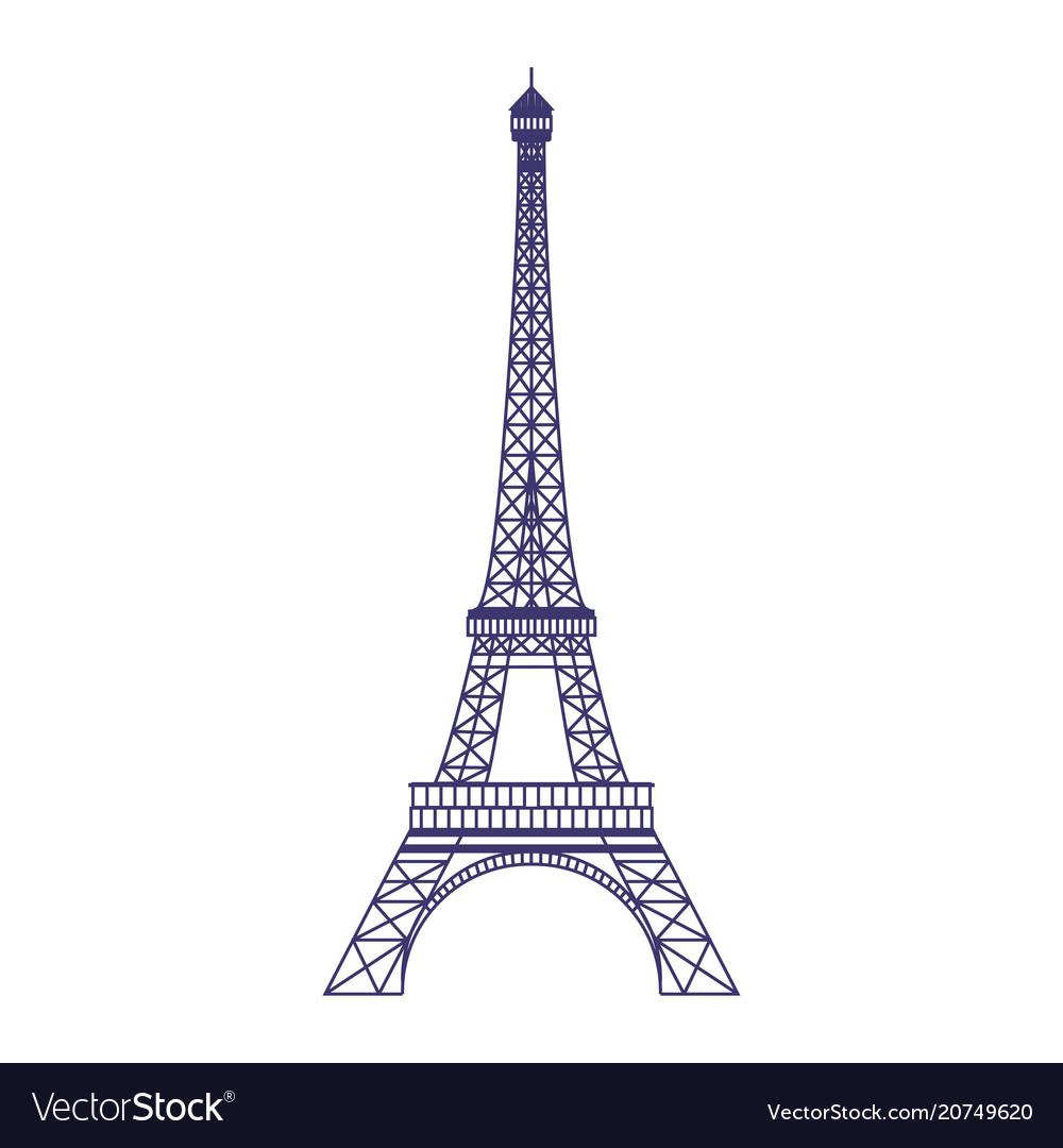 Eiffel tower icon in flat design