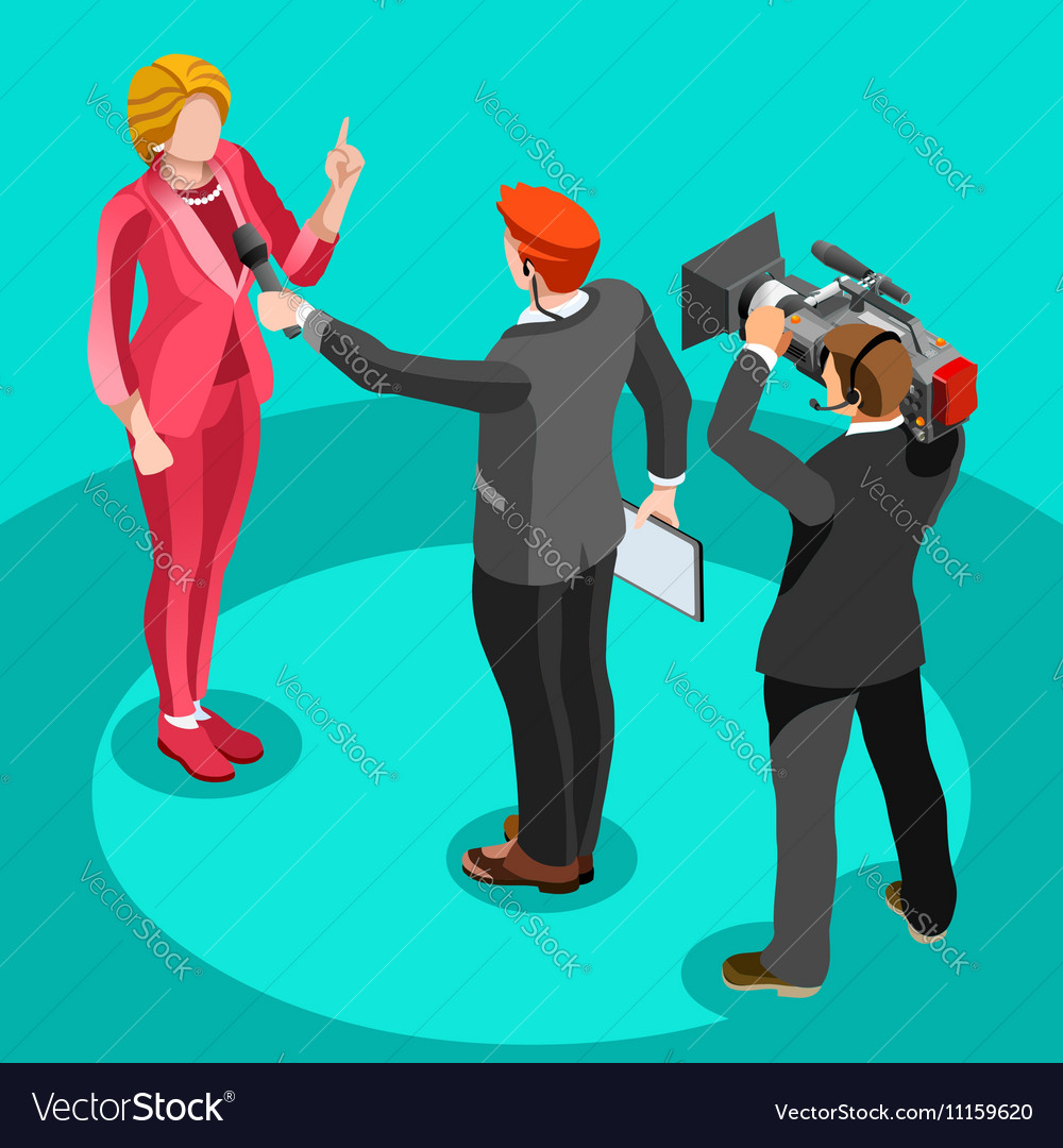 Election News Infographic Interview Isometric vector image