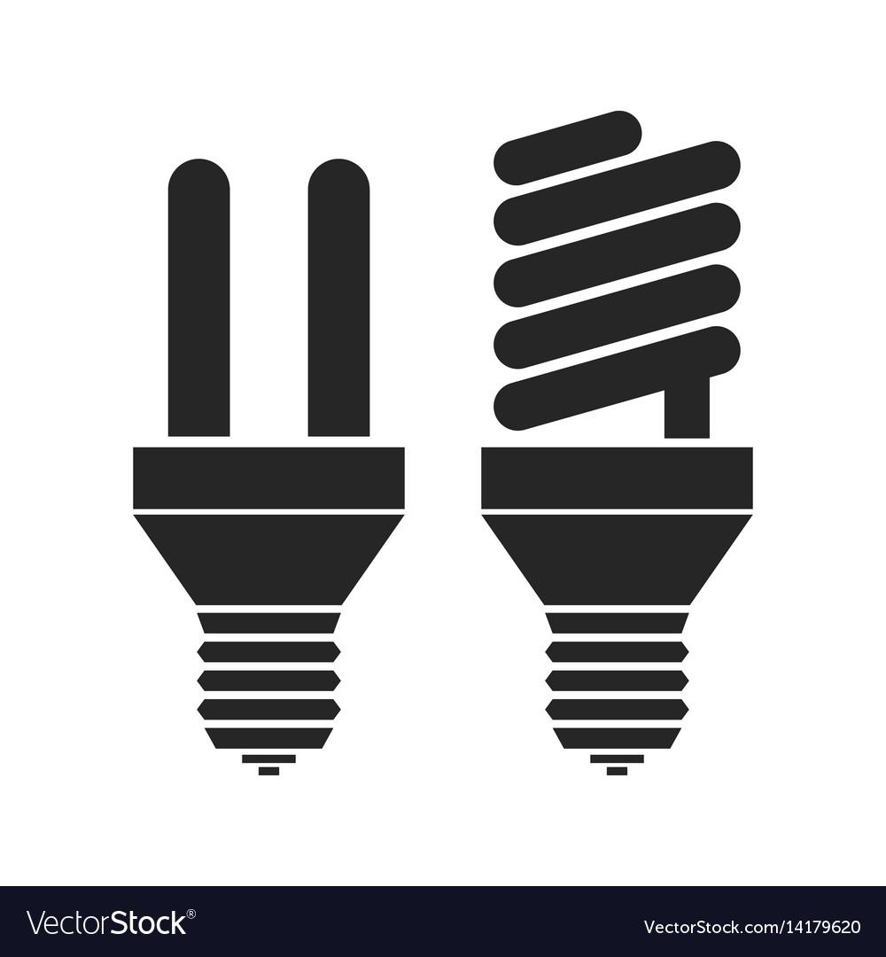 Energy saving light bulbs flat black icon
