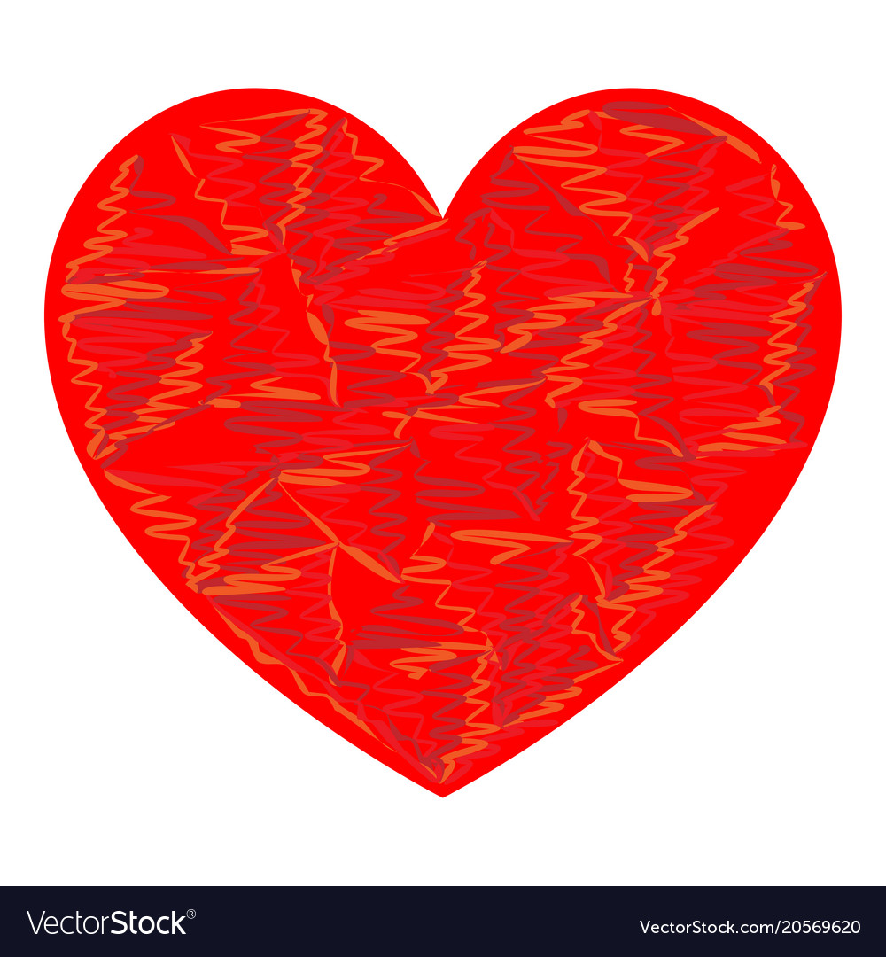 Heart red color with strokes
