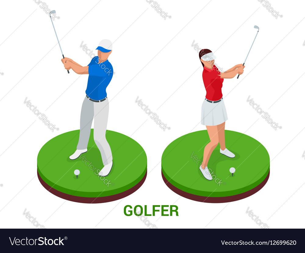 Isometric golfer Sport design elements vector image