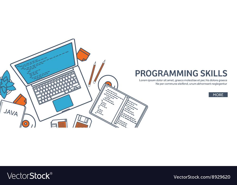 Lined programmingcoding Outline Flat computing