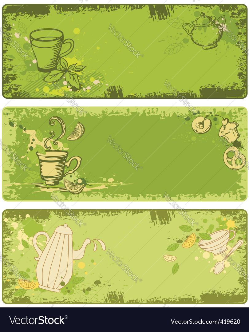 Set of green tea banners