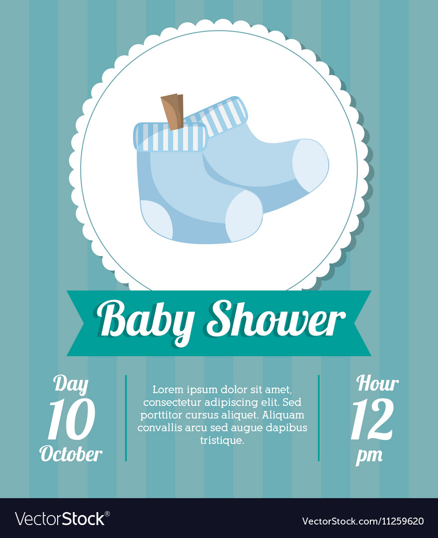 Socks of baby shower card design vector image