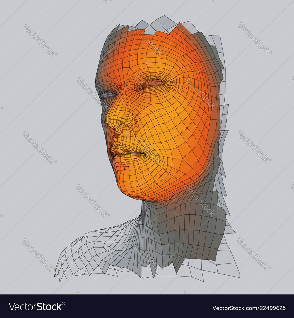 3d geometric face design human head wire model