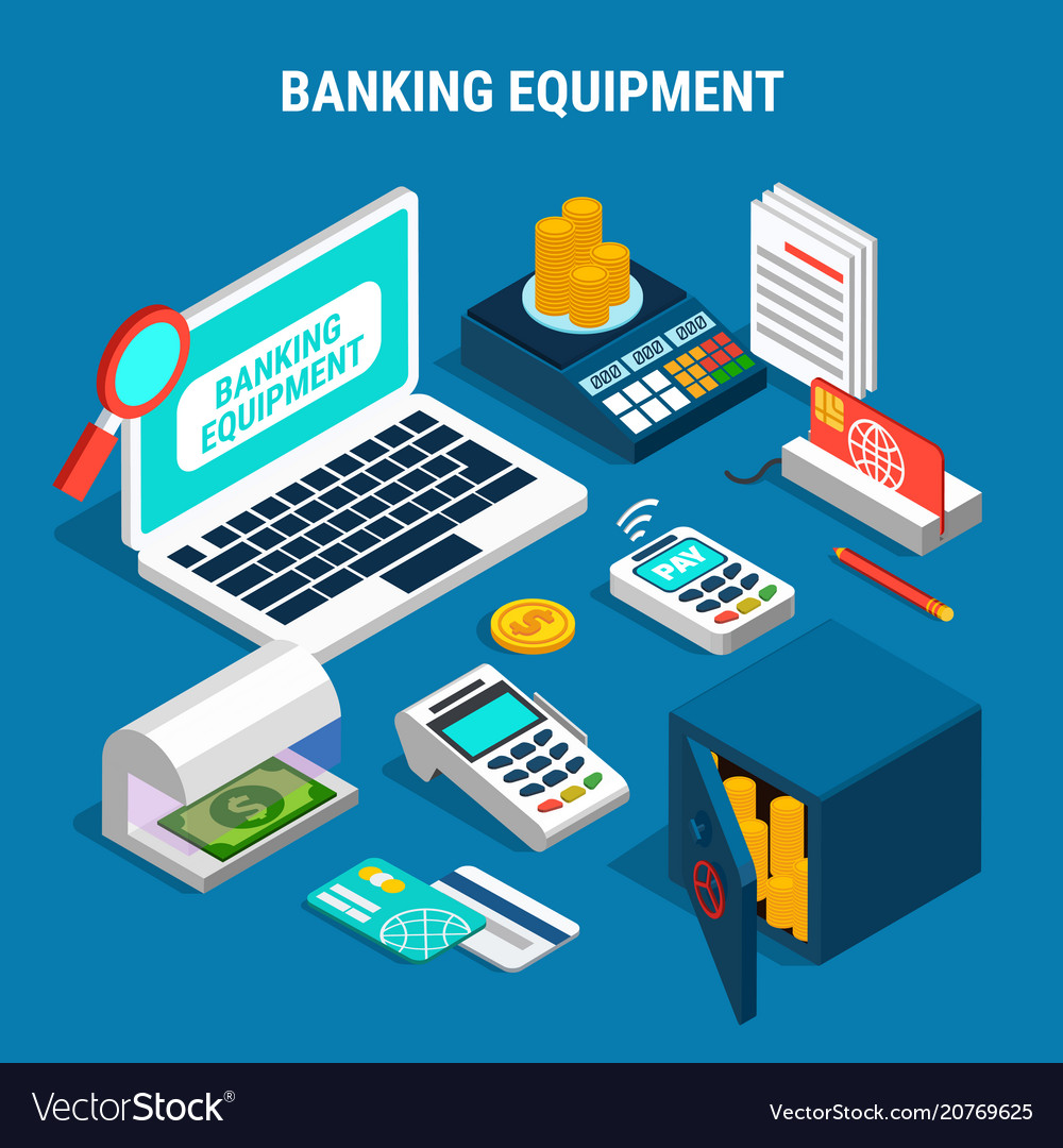 Banking equipment isometric composition
