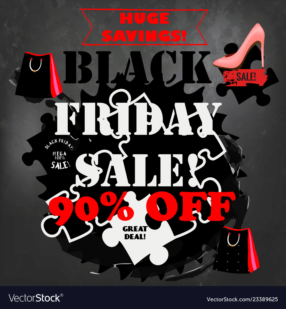 Black friday sale poster on a chalk board