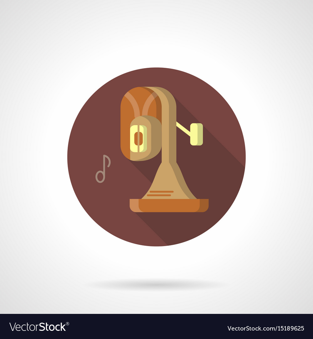Brass band instrument flat round icon