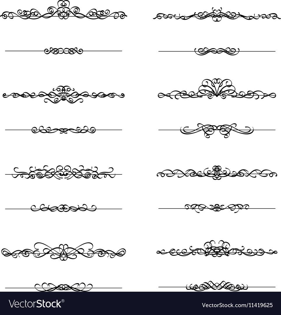 Calligraphic borders frames set