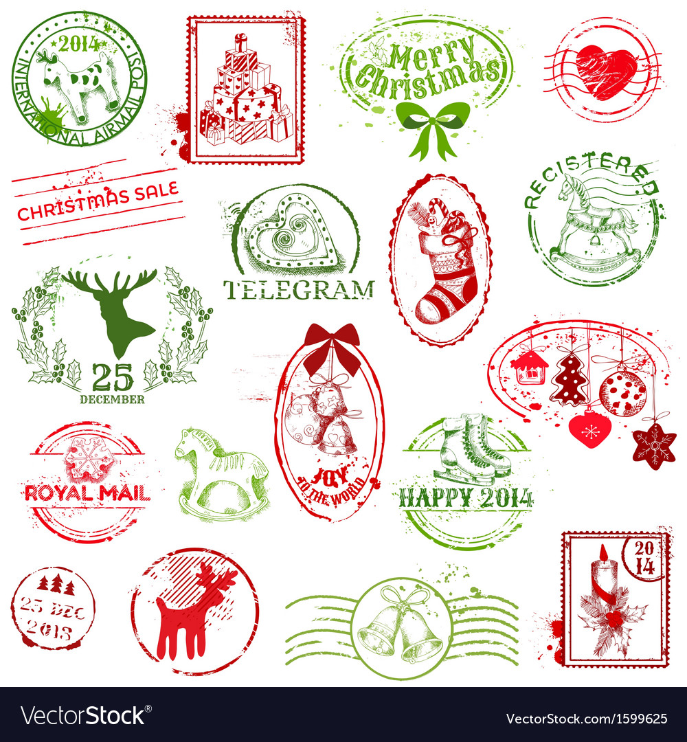 Christmas Stamp Collection vector image