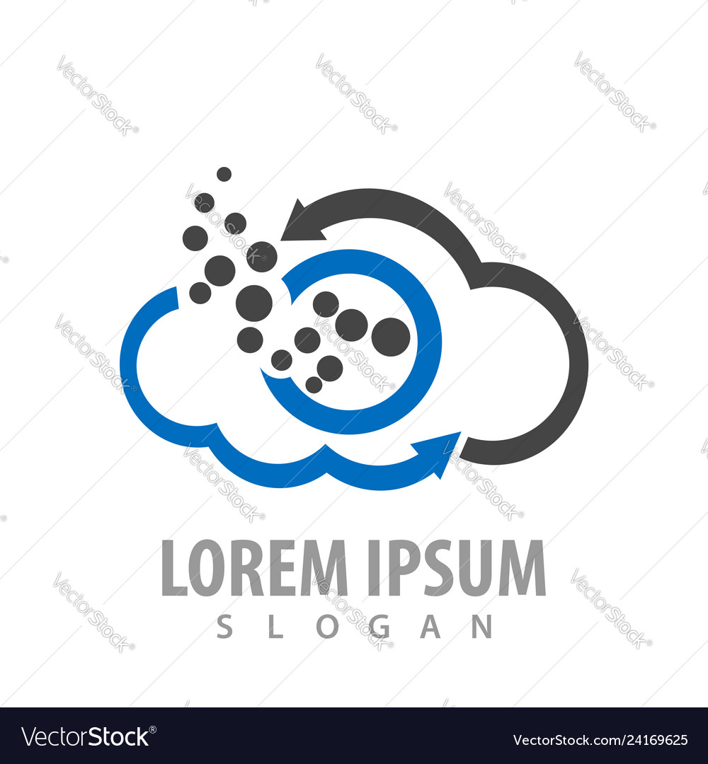 Circle molecule cloud arrow logo concept design