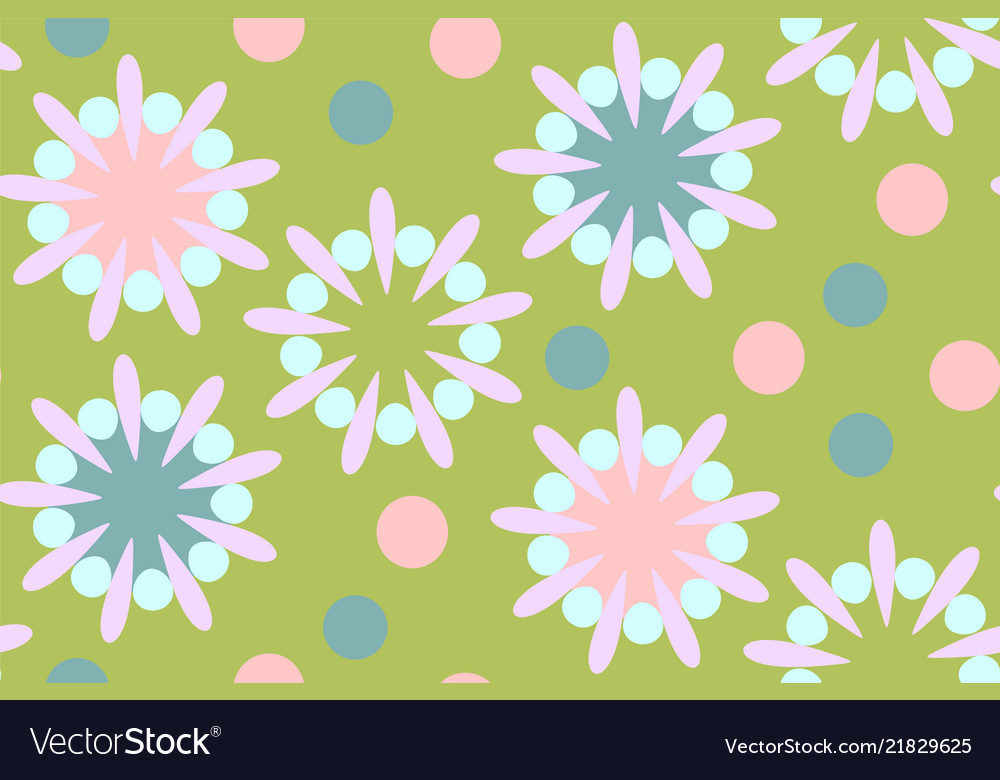 Cute seamless pattern in retro style round shapes