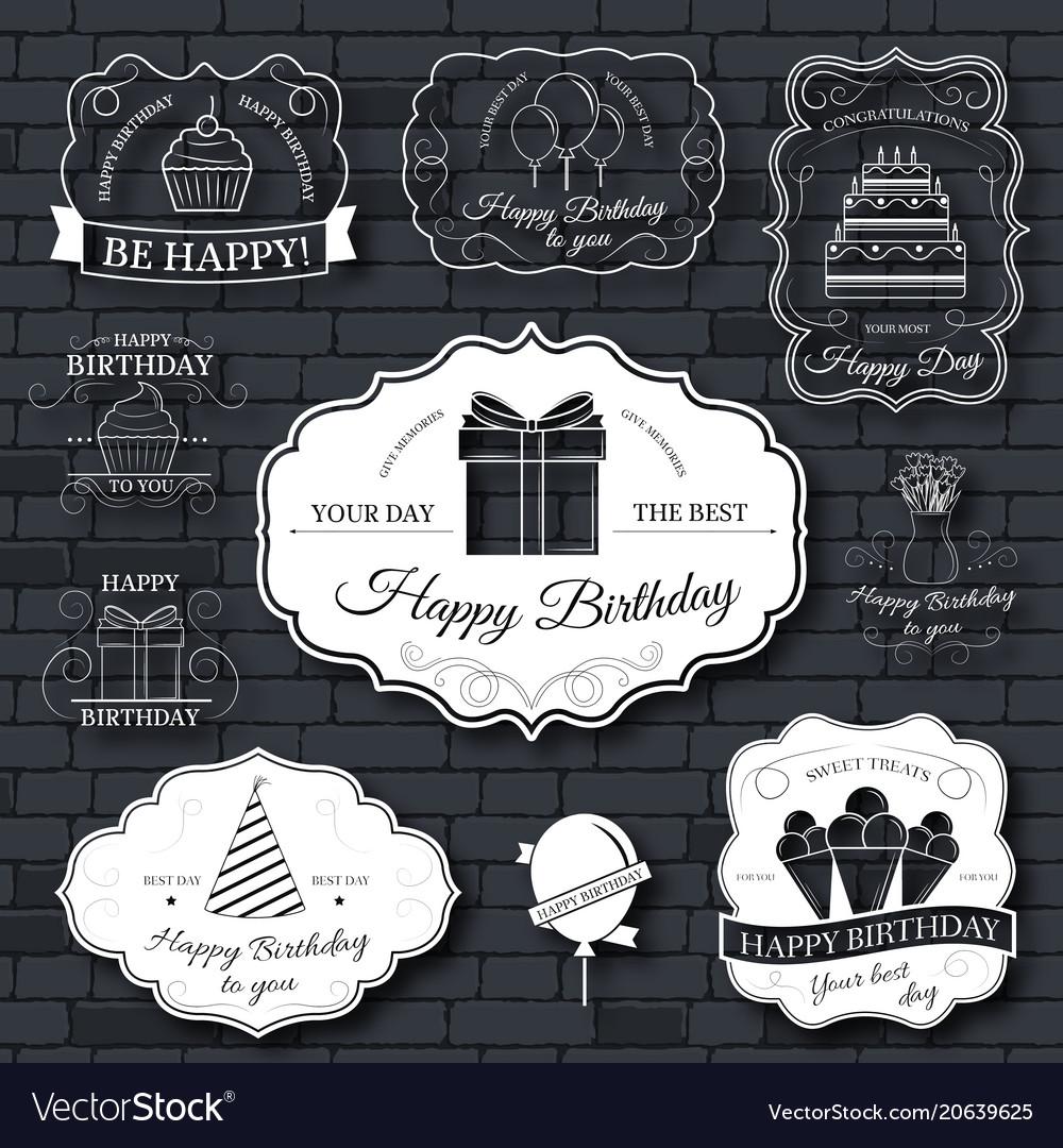 Happy birthday set label template of emblem