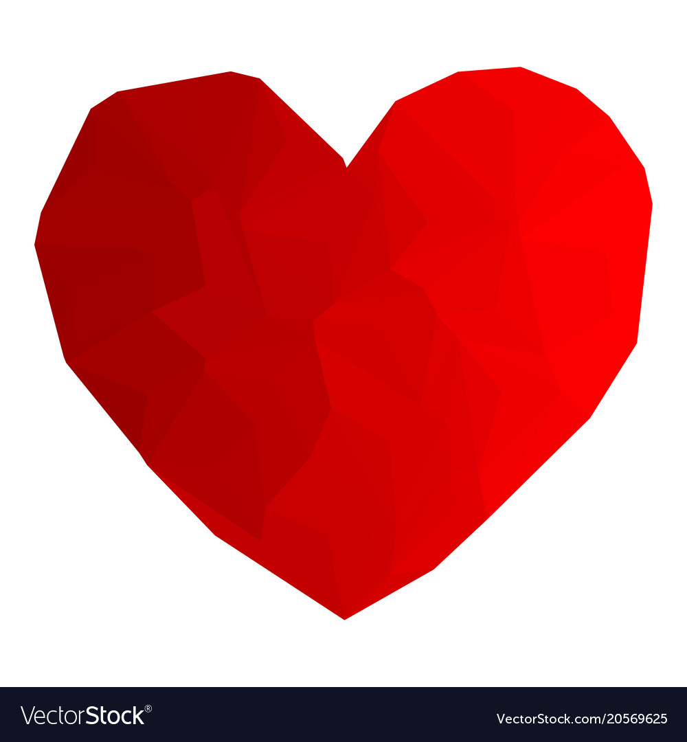 Heart red color with triangulation vector image