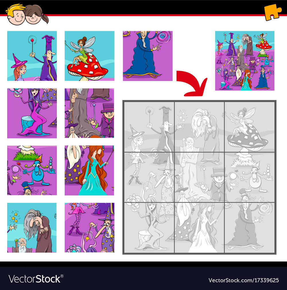 Jigsaw puzzles with fantasy characters vector image